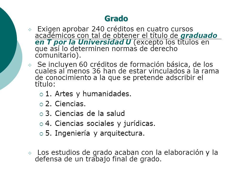 Grado Exigen aprobar 240 créditos en cuatro cursos académicos con tal de obtener el título de graduado en T por la Universidad U (excepto los títulos