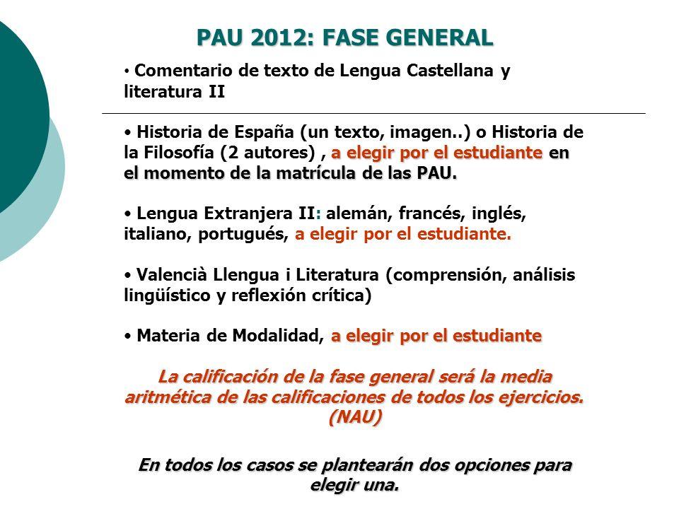 Laccés als graus: la nova selectivitat PAU 2012: FASE GENERAL Comentario de texto de Lengua Castellana y literatura II a elegir por el estudiante en e