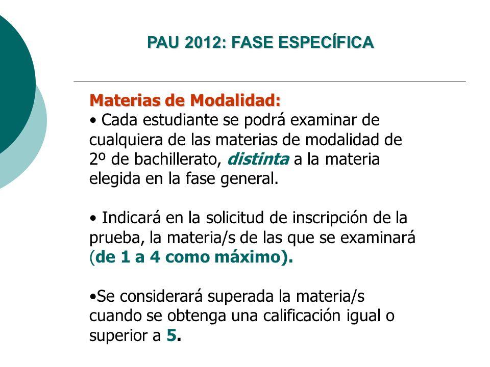 Laccés als graus: la nova selectivitat PAU 2012: FASE ESPECÍFICA Materias de Modalidad: Cada estudiante se podrá examinar de cualquiera de las materia
