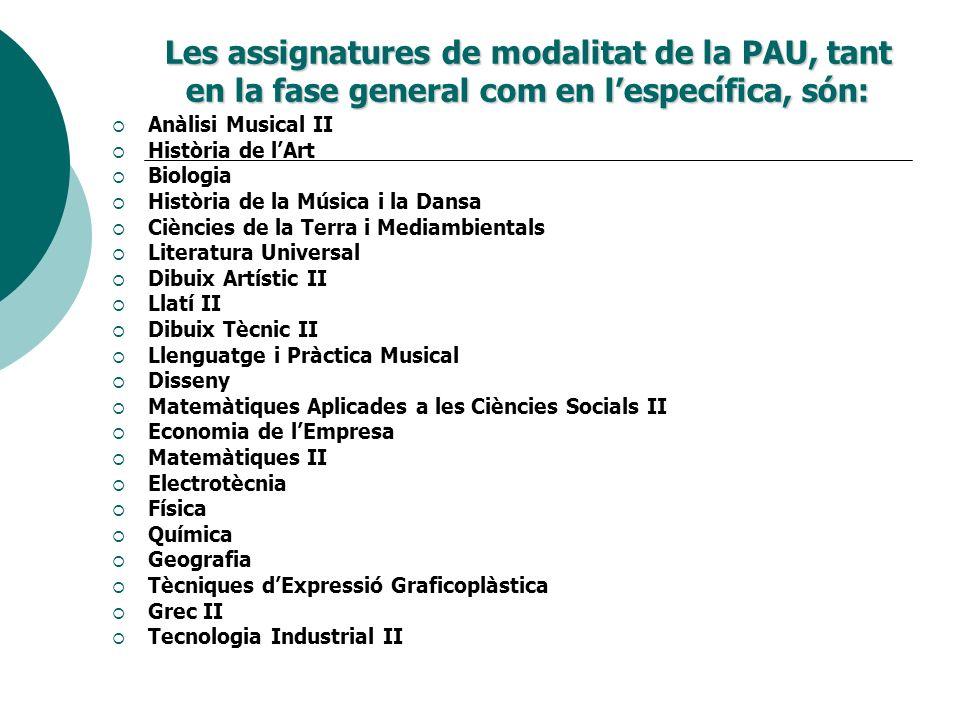 Les assignatures de modalitat de la PAU, tant en la fase general com en lespecífica, són: Anàlisi Musical II Història de lArt Biologia Història de la