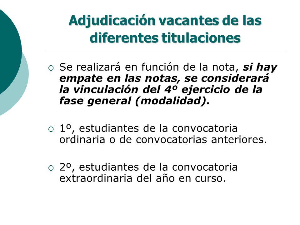 Adjudicación vacantes de las diferentes titulaciones Se realizará en función de la nota, si hay empate en las notas, se considerará la vinculación del
