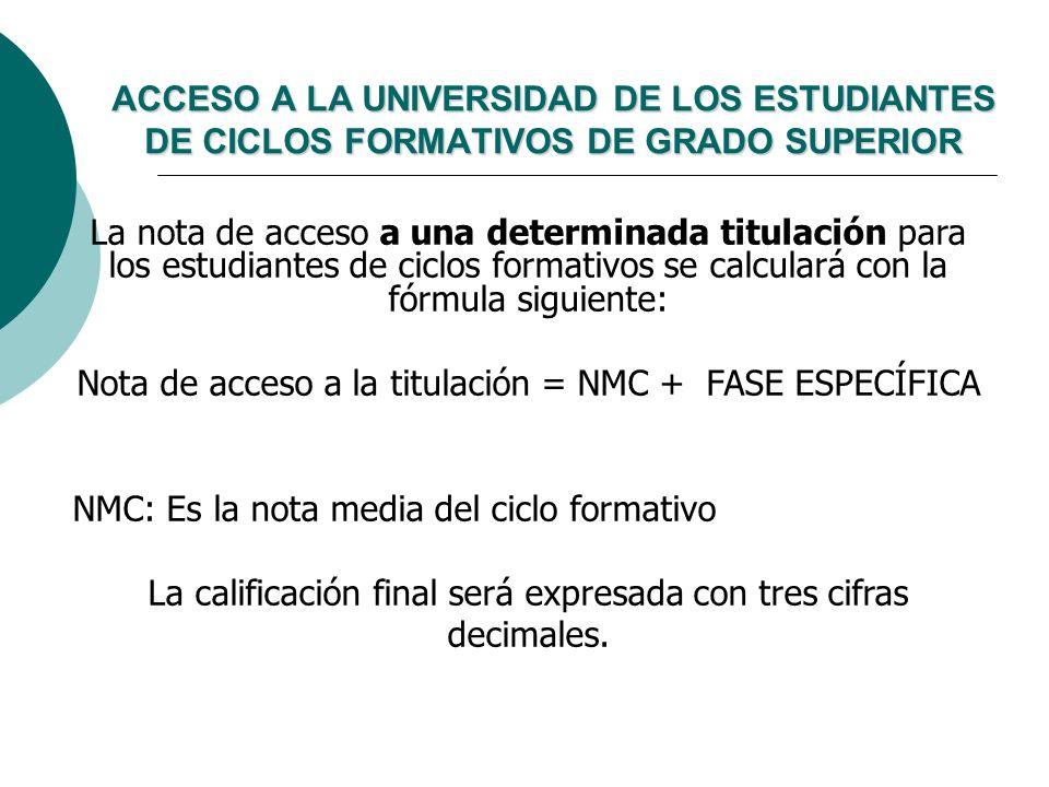 La nota de acceso a una determinada titulación para los estudiantes de ciclos formativos se calculará con la fórmula siguiente: Nota de acceso a la ti