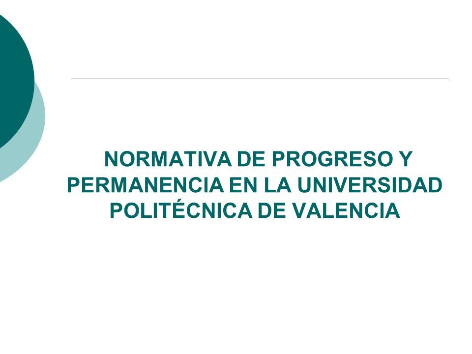 NORMATIVA DE PROGRESO Y PERMANENCIA EN LA UNIVERSIDAD POLITÉCNICA DE VALENCIA