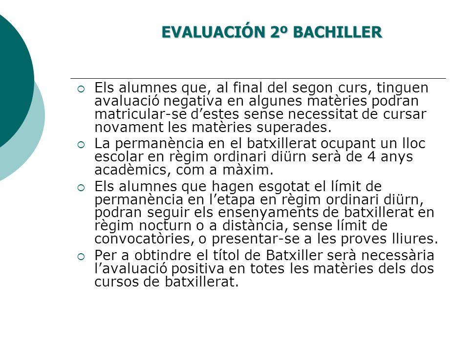 EVALUACIÓN 2º BACHILLER Els alumnes que, al final del segon curs, tinguen avaluació negativa en algunes matèries podran matricular-se destes sense nec