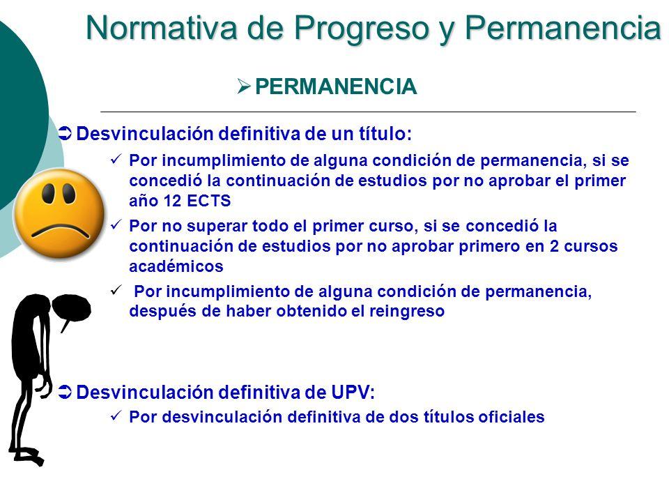 Normativa de Progreso y Permanencia PERMANENCIA Desvinculación definitiva de un título: Por incumplimiento de alguna condición de permanencia, si se c