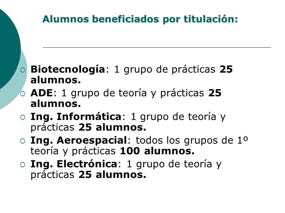 Alumnos beneficiados por titulación: Biotecnología: 1 grupo de prácticas 25 alumnos. ADE: 1 grupo de teoría y prácticas 25 alumnos. Ing. Informática:
