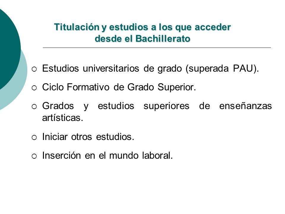 Titulación y estudios a los que acceder desde el Bachillerato Estudios universitarios de grado (superada PAU). Ciclo Formativo de Grado Superior. Grad