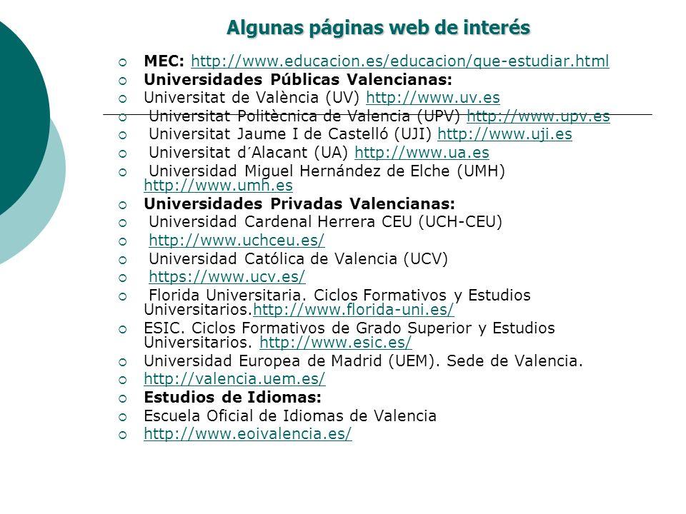 Algunas páginas web de interés MEC: http://www.educacion.es/educacion/que-estudiar.htmlhttp://www.educacion.es/educacion/que-estudiar.html Universidad