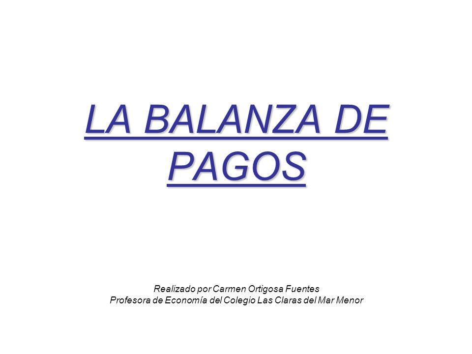 LA BALANZA DE PAGOS LA BALANZA DE PAGOS Realizado por Carmen Ortigosa Fuentes Profesora de Economía del Colegio Las Claras del Mar Menor