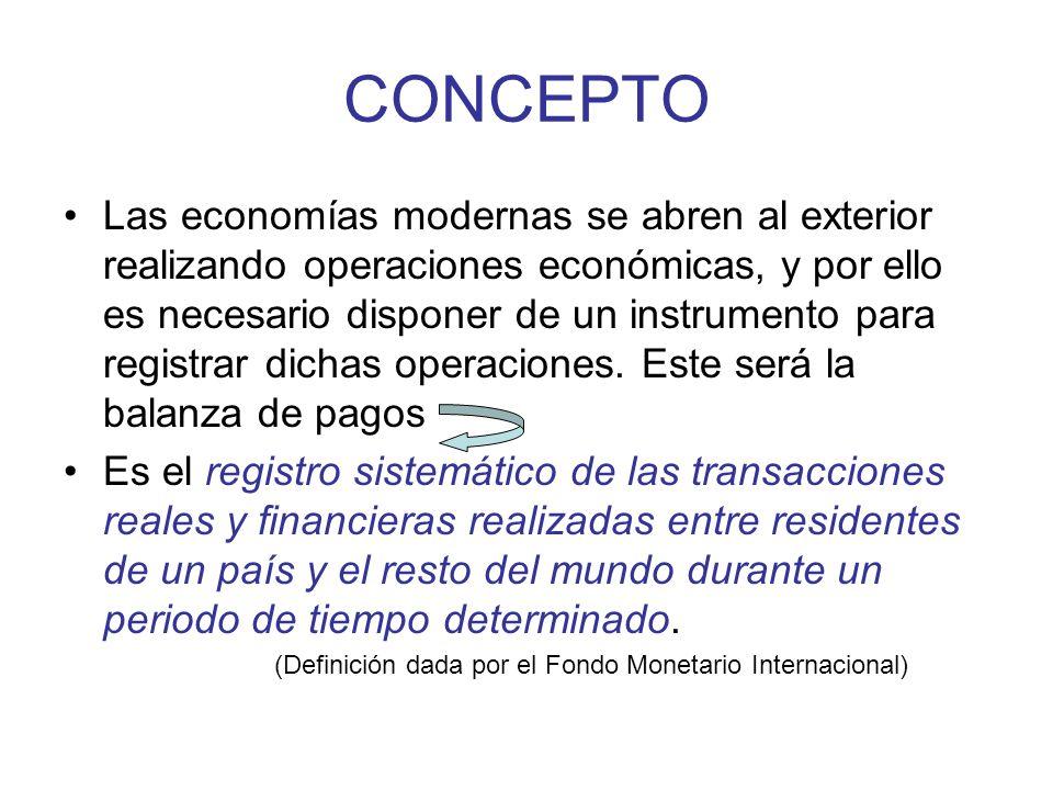 CONCEPTO Las economías modernas se abren al exterior realizando operaciones económicas, y por ello es necesario disponer de un instrumento para registrar dichas operaciones.