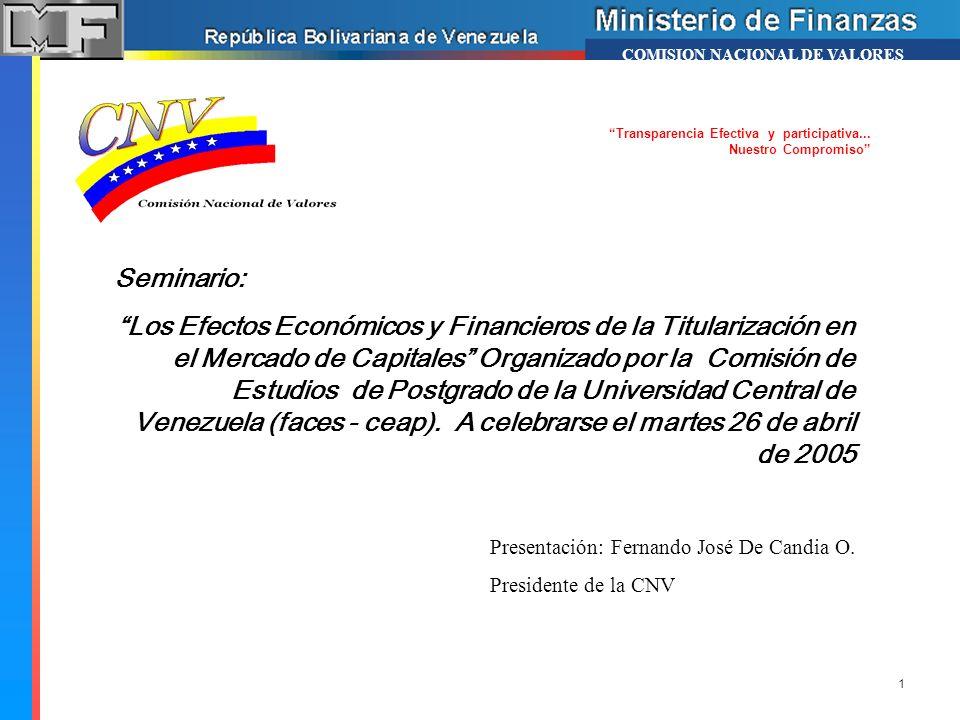 COMISION NACIONAL DE VALORES Presentación: Fernando José De Candia O. Presidente de la CNV Seminario: Los Efectos Económicos y Financieros de la Titul