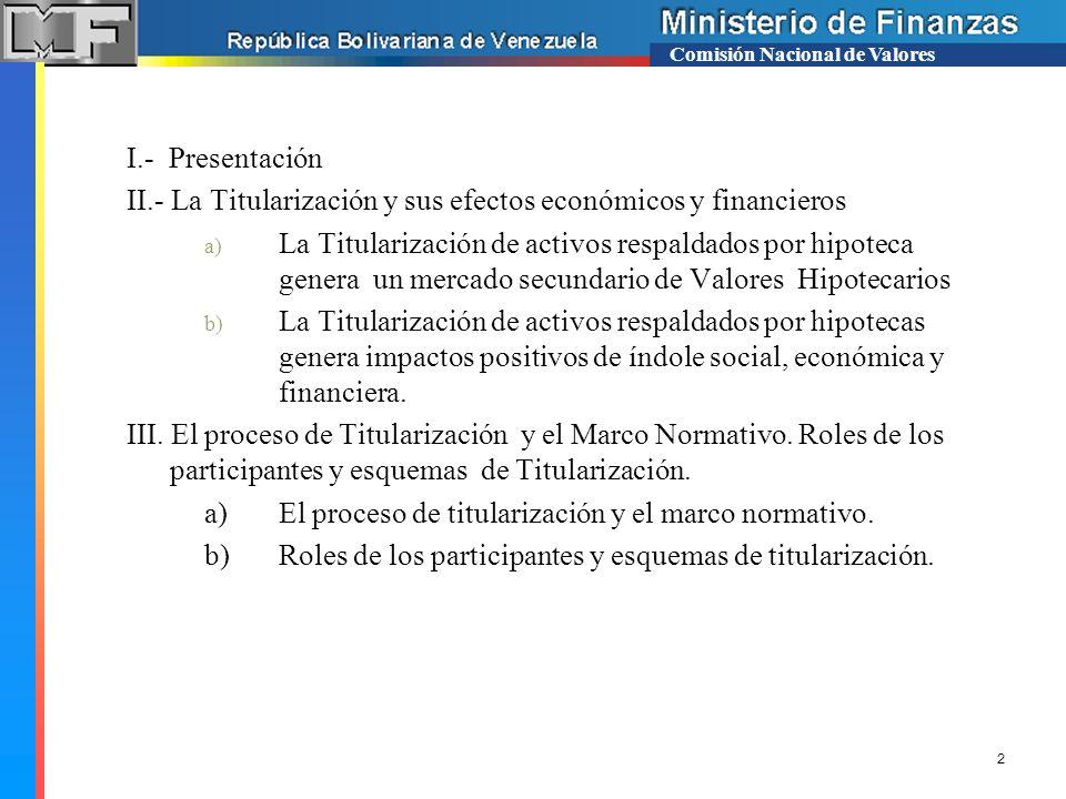 Comisión Nacional de Valores I.- Presentación II.- La Titularización y sus efectos económicos y financieros a) La Titularización de activos respaldado