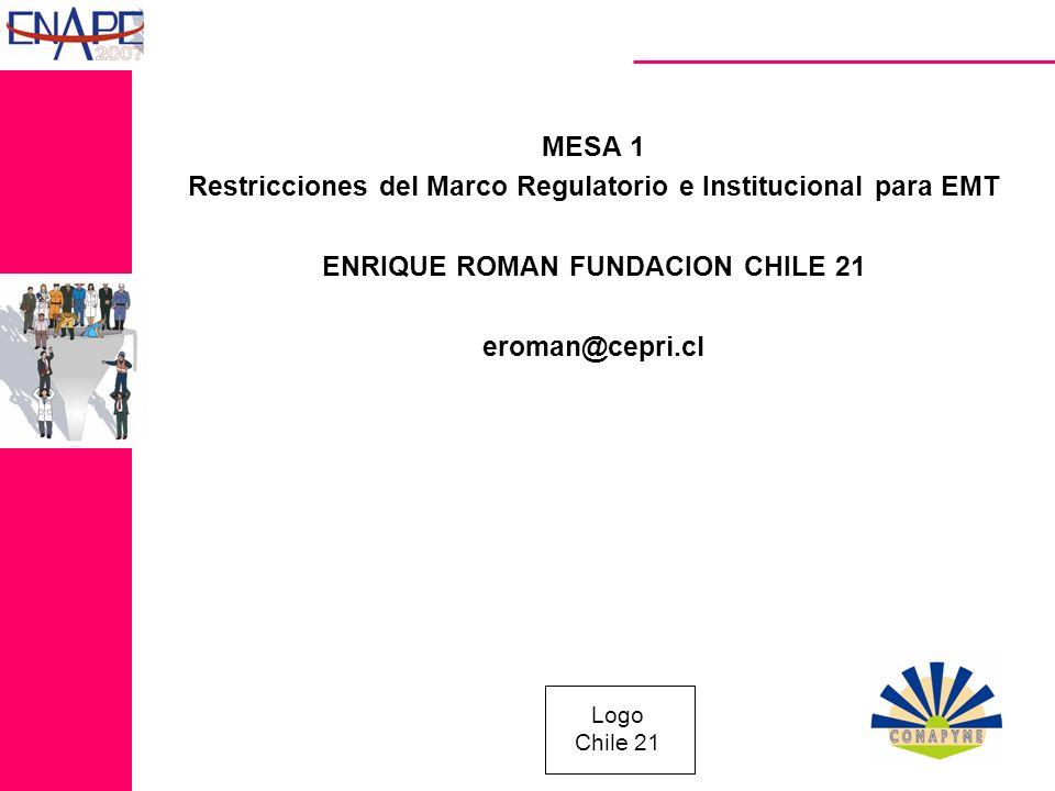Logo Chile 21 MESA 1 Restricciones del Marco Regulatorio e Institucional para EMT ENRIQUE ROMAN FUNDACION CHILE 21 eroman@cepri.cl