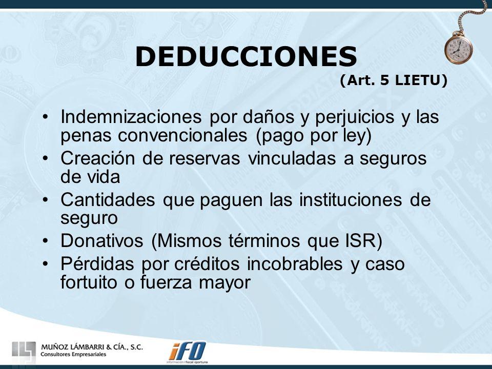 DEDUCCIONES (Art. 5 LIETU) Indemnizaciones por daños y perjuicios y las penas convencionales (pago por ley) Creación de reservas vinculadas a seguros