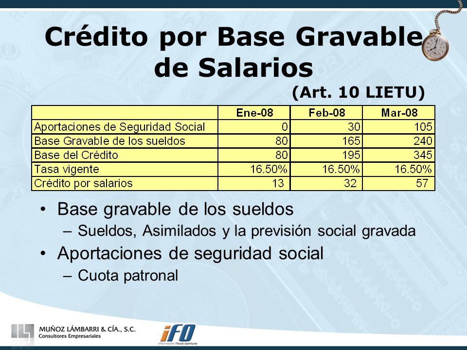 Crédito por Base Gravable de Salarios (Art. 10 LIETU) Base gravable de los sueldos –Sueldos, Asimilados y la previsión social gravada Aportaciones de