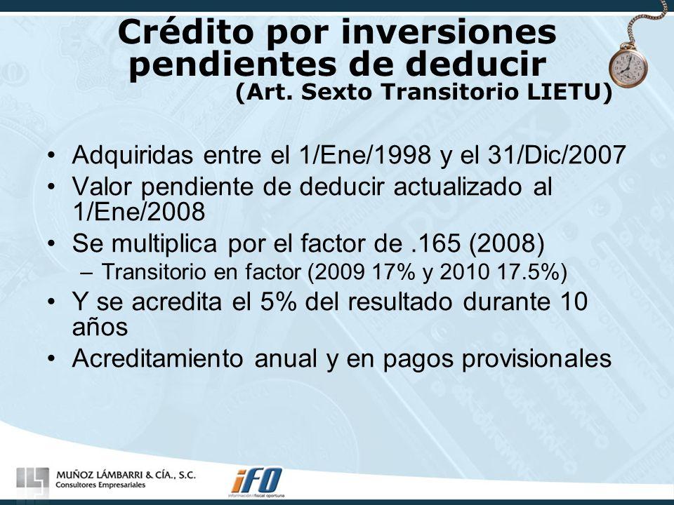 Crédito por inversiones pendientes de deducir (Art. Sexto Transitorio LIETU) Adquiridas entre el 1/Ene/1998 y el 31/Dic/2007 Valor pendiente de deduci
