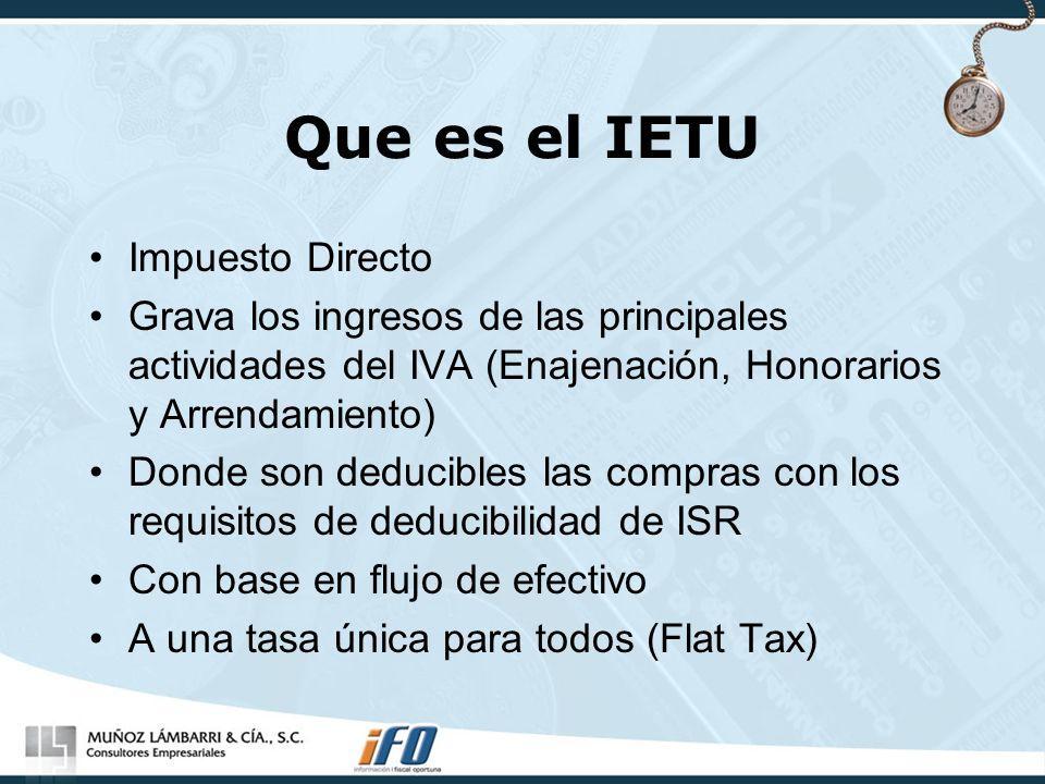 Que es el IETU Impuesto Directo Grava los ingresos de las principales actividades del IVA (Enajenación, Honorarios y Arrendamiento) Donde son deducibl