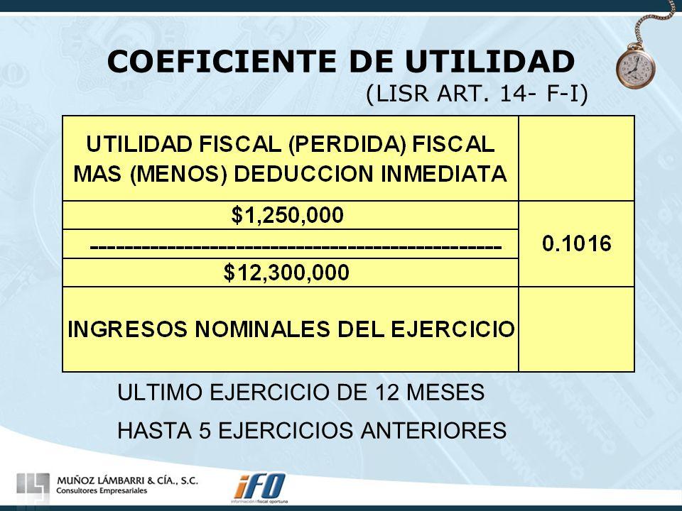 COEFICIENTE DE UTILIDAD (LISR ART. 14- F-I) ULTIMO EJERCICIO DE 12 MESES HASTA 5 EJERCICIOS ANTERIORES