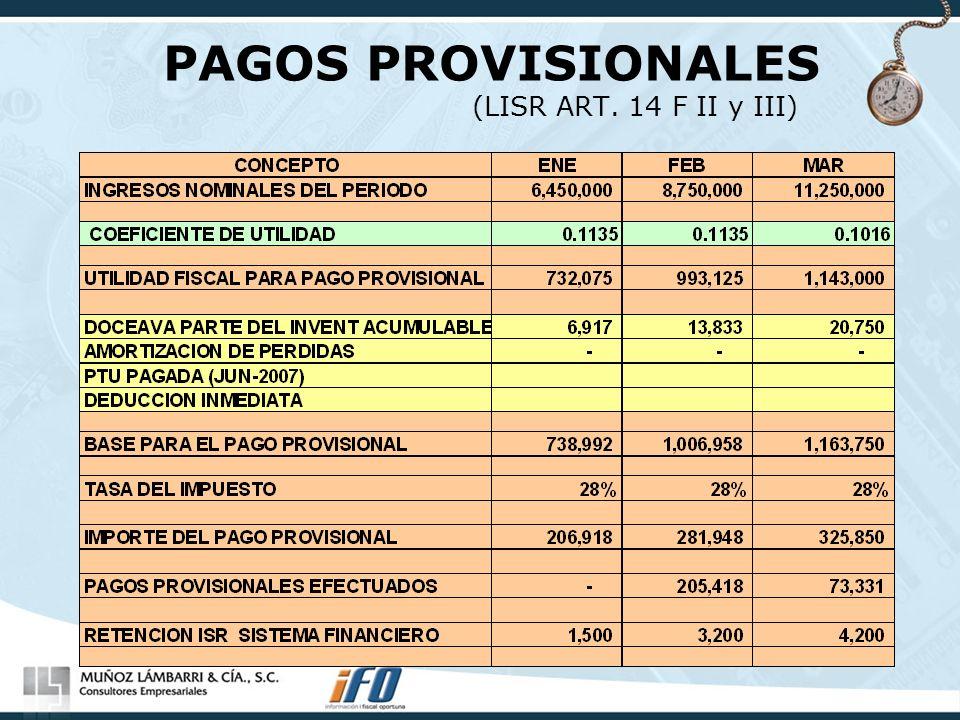 PAGOS PROVISIONALES (LISR ART. 14 F II y III)