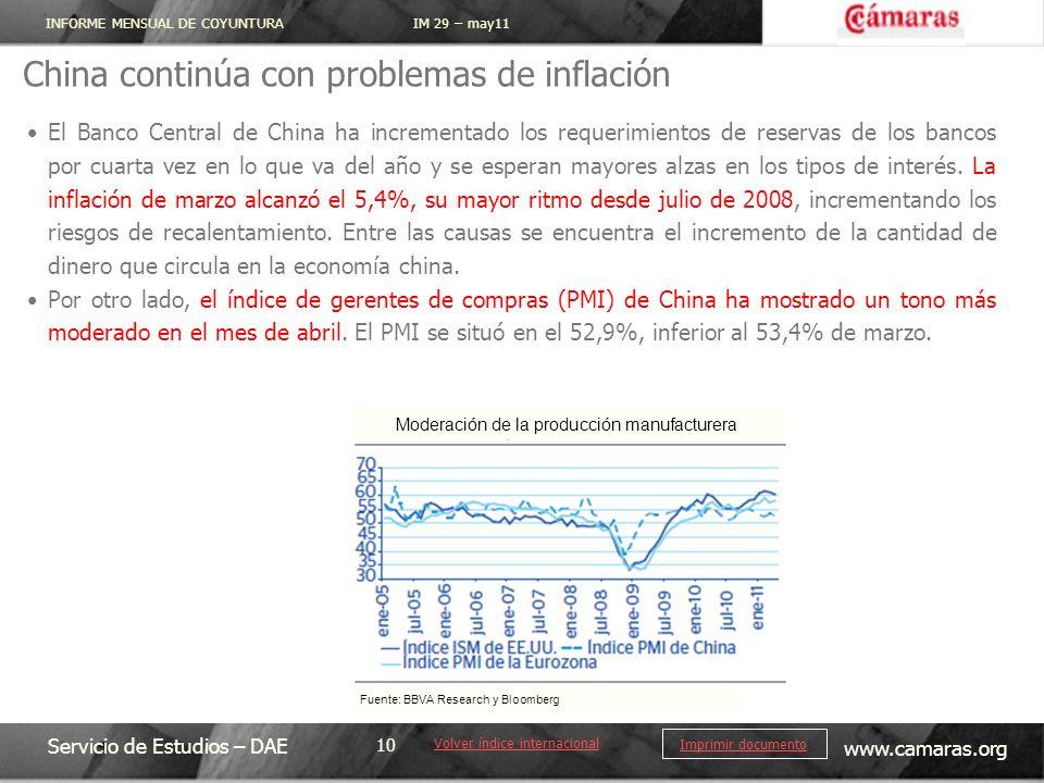 INFORME MENSUAL DE COYUNTURA IM 29 – may11 Servicio de Estudios – DAE www.camaras.org 10 Imprimir documento China continúa con problemas de inflación