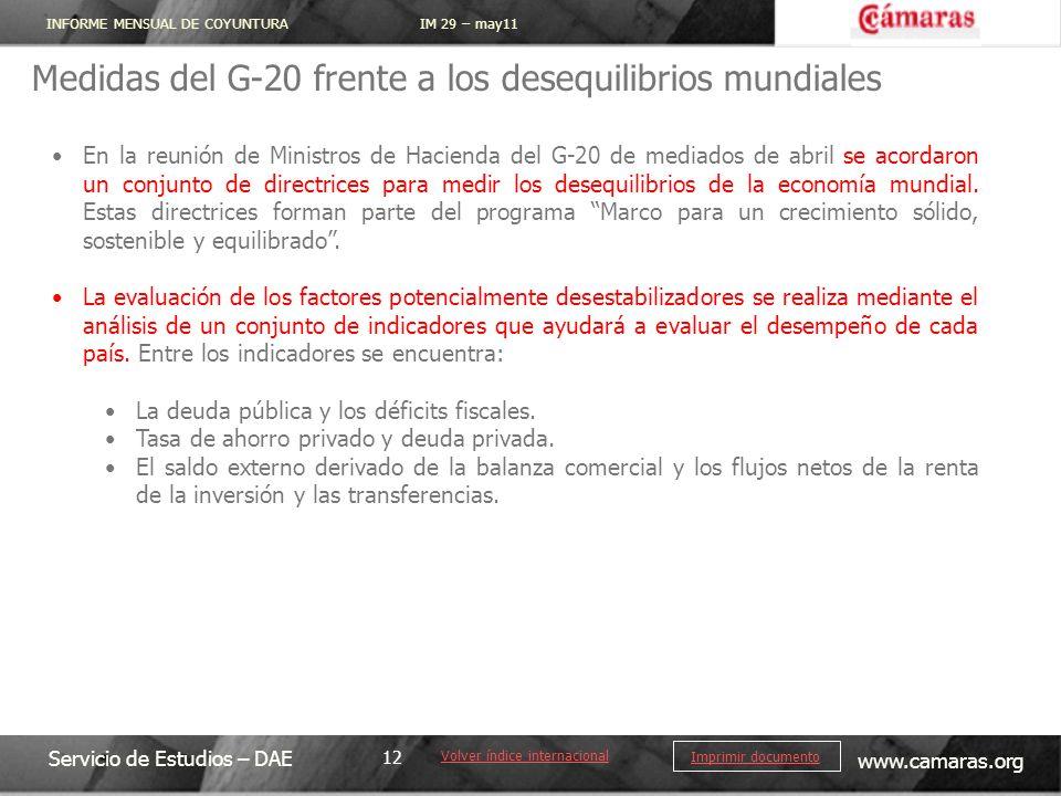 INFORME MENSUAL DE COYUNTURA IM 29 – may11 Servicio de Estudios – DAE www.camaras.org 12 Imprimir documento Medidas del G-20 frente a los desequilibri