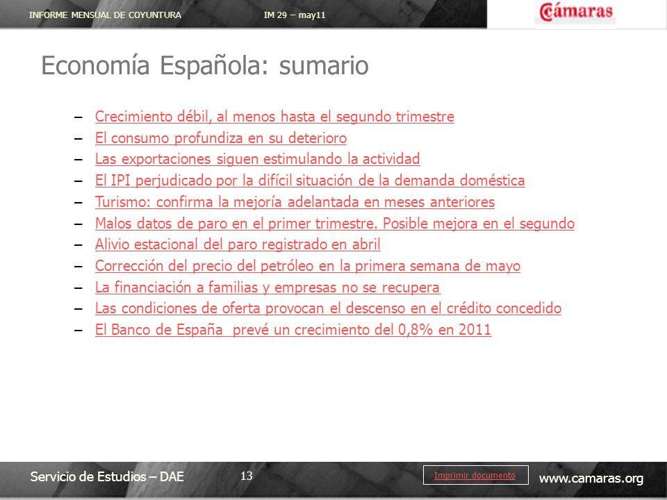 INFORME MENSUAL DE COYUNTURA IM 29 – may11 Servicio de Estudios – DAE www.camaras.org 13 Imprimir documento Economía Española: sumario – Crecimiento d