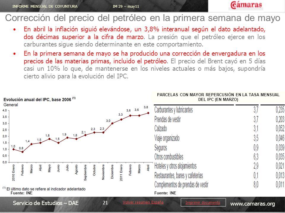 INFORME MENSUAL DE COYUNTURA IM 29 – may11 Servicio de Estudios – DAE www.camaras.org 21 Imprimir documento En abril la inflación siguió elevándose, un 3,8% interanual según el dato adelantado, dos décimas superior a la cifra de marzo.