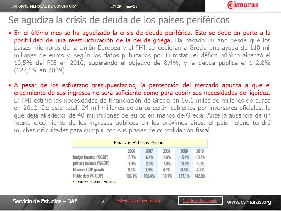 INFORME MENSUAL DE COYUNTURA IM 29 – may11 Servicio de Estudios – DAE www.camaras.org 5 Imprimir documento Se agudiza la crisis de deuda de los países