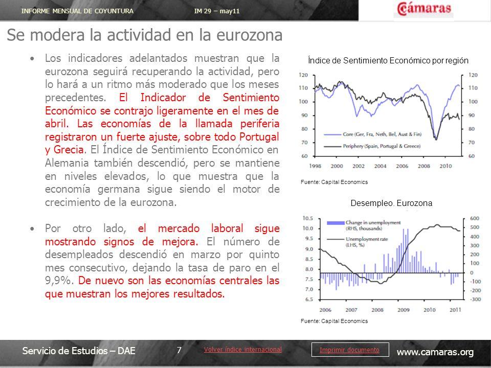 INFORME MENSUAL DE COYUNTURA IM 29 – may11 Servicio de Estudios – DAE www.camaras.org 7 Imprimir documento Se modera la actividad en la eurozona Volve