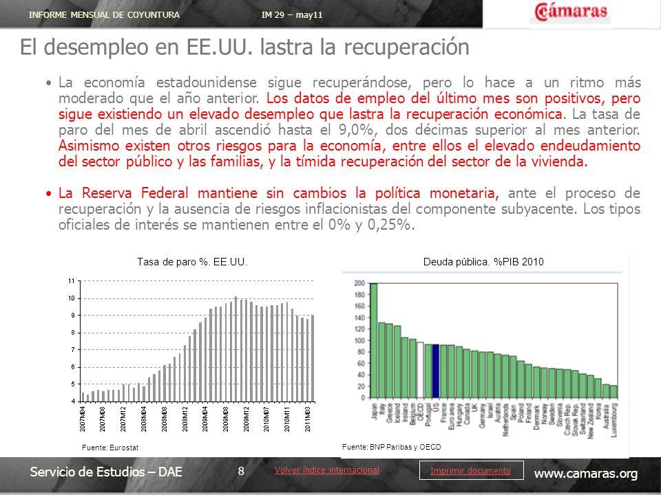 INFORME MENSUAL DE COYUNTURA IM 29 – may11 Servicio de Estudios – DAE www.camaras.org 8 Imprimir documento El desempleo en EE.UU. lastra la recuperaci