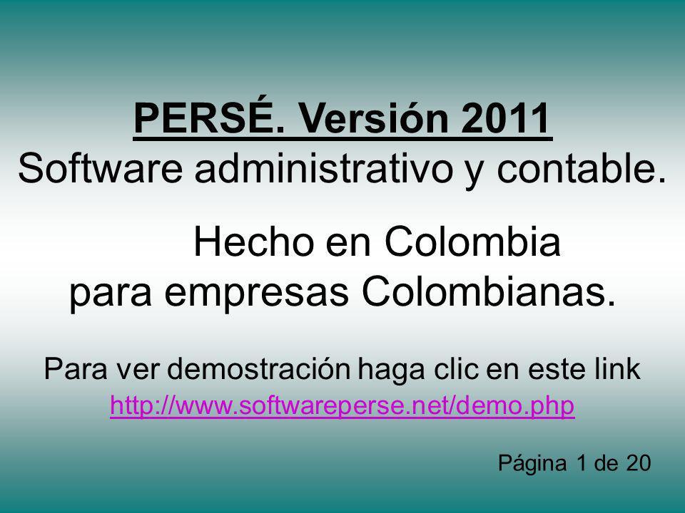 PERSÉ.Versión 2011 Software administrativo y contable.