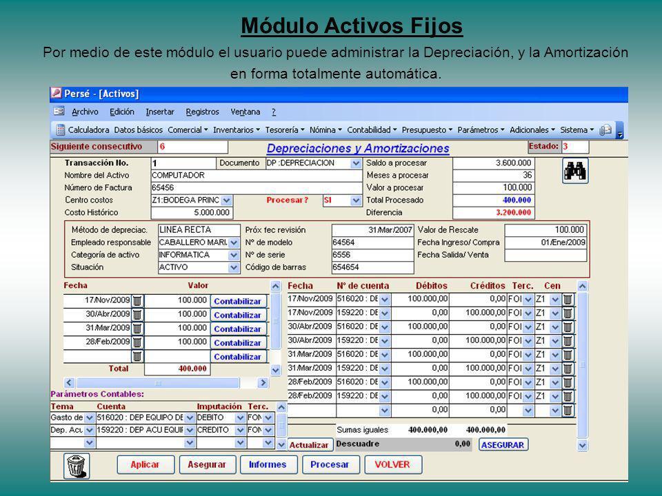 Por medio de este módulo el usuario puede administrar la Depreciación, y la Amortización en forma totalmente automática.