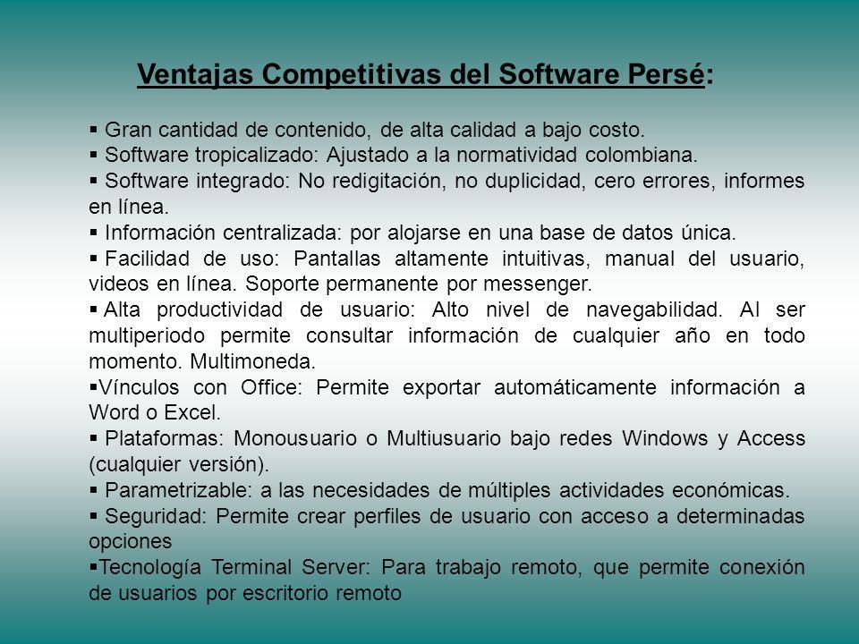 Ventajas Competitivas del Software Persé: Gran cantidad de contenido, de alta calidad a bajo costo.
