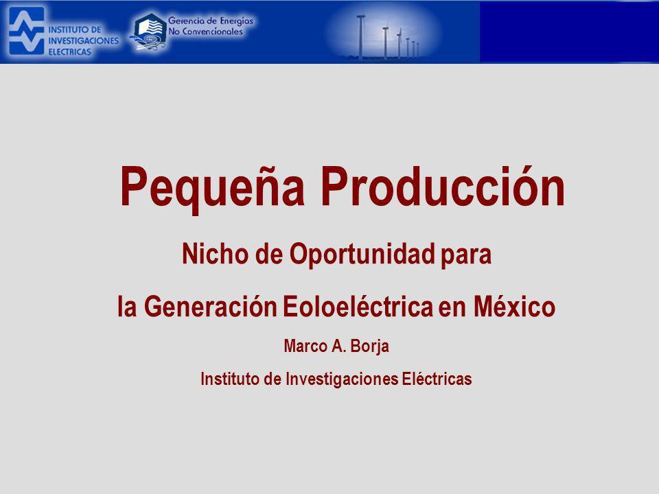 Pequeña Producción Nicho de Oportunidad para la Generación Eoloeléctrica en México Marco A.