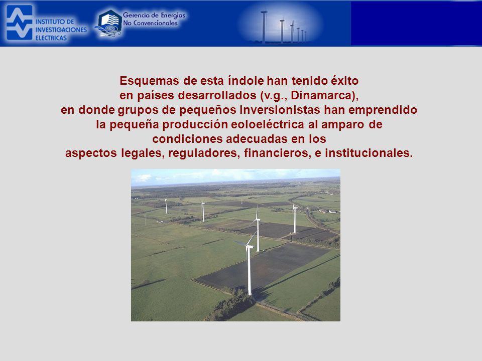 Esquemas de esta índole han tenido éxito en países desarrollados (v.g., Dinamarca), en donde grupos de pequeños inversionistas han emprendido la pequeña producción eoloeléctrica al amparo de condiciones adecuadas en los aspectos legales, reguladores, financieros, e institucionales.
