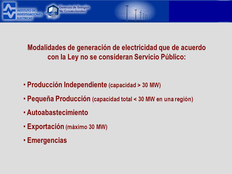 Modalidades de generación de electricidad que de acuerdo con la Ley no se consideran Servicio Público: Producción Independiente (capacidad > 30 MW) Pequeña Producción (capacidad total < 30 MW en una región) Autoabastecimiento Exportación (máximo 30 MW) Emergencias
