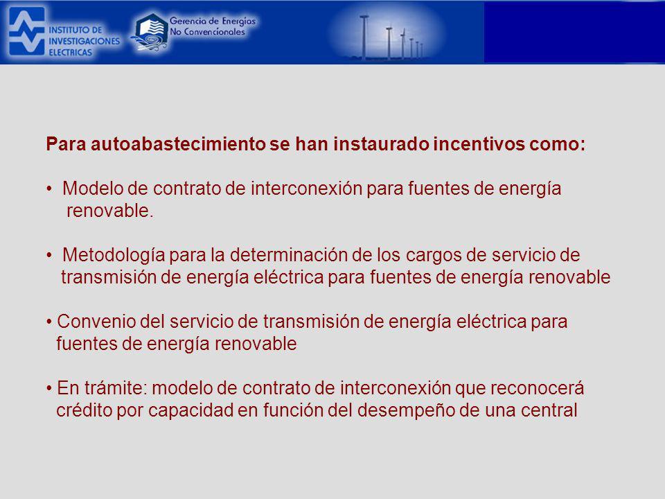 Para autoabastecimiento se han instaurado incentivos como: Modelo de contrato de interconexión para fuentes de energía renovable.
