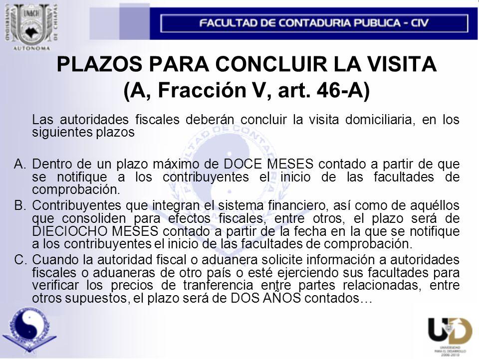 PLAZOS PARA CONCLUIR LA VISITA (A, Fracción V, art.