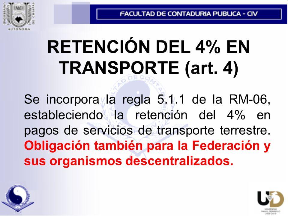 RETENCIÓN DEL 4% EN TRANSPORTE (art.