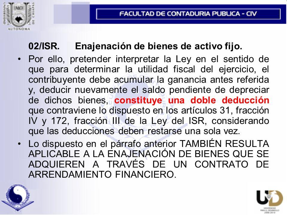 02/ISR.Enajenación de bienes de activo fijo.