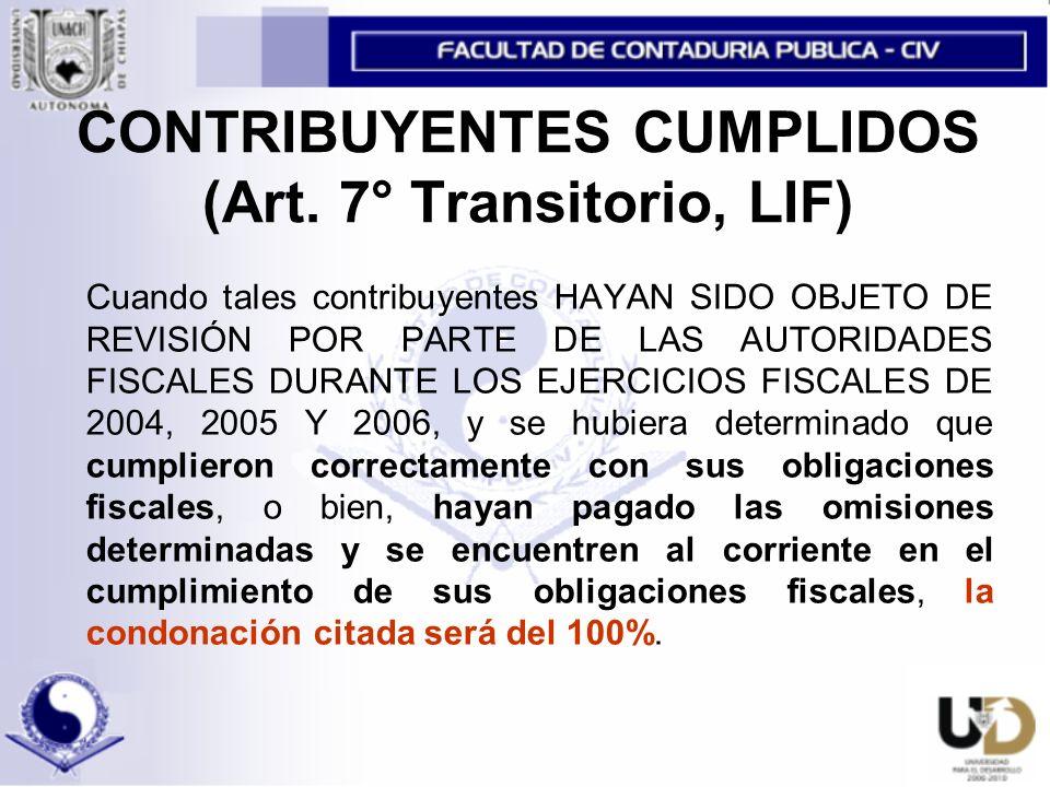 CONTRIBUYENTES CUMPLIDOS (Art.