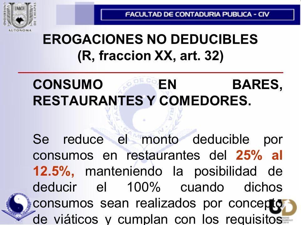 EROGACIONES NO DEDUCIBLES (R, fraccion XX, art.32) CONSUMO EN BARES, RESTAURANTES Y COMEDORES.