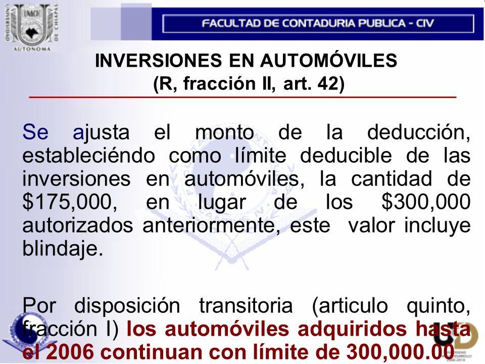 INVERSIONES EN AUTOMÓVILES (R, fracción II, art.