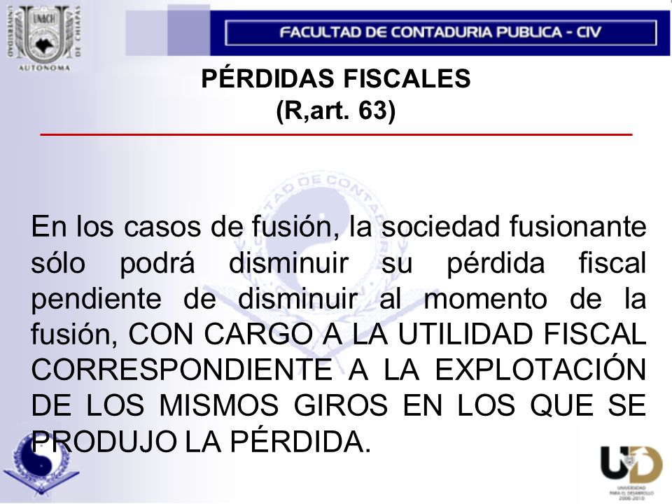 PÉRDIDAS FISCALES (R,art.