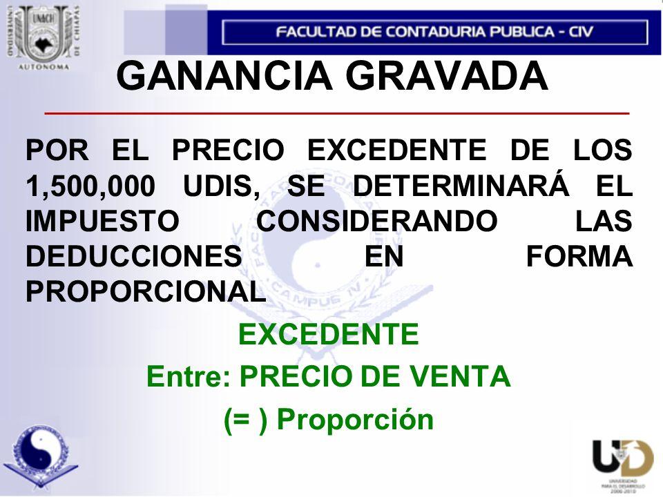 GANANCIA GRAVADA POR EL PRECIO EXCEDENTE DE LOS 1,500,000 UDIS, SE DETERMINARÁ EL IMPUESTO CONSIDERANDO LAS DEDUCCIONES EN FORMA PROPORCIONAL EXCEDENTE Entre: PRECIO DE VENTA (= ) Proporción