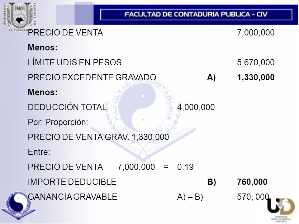 PRECIO DE VENTA 7,000,000 Menos: LÍMITE UDIS EN PESOS 5,670,000 PRECIO EXCEDENTE GRAVADO A)1,330,000 Menos: DEDUCCIÓN TOTAL 4,000,000 Por: Proporción: PRECIO DE VENTA GRAV.
