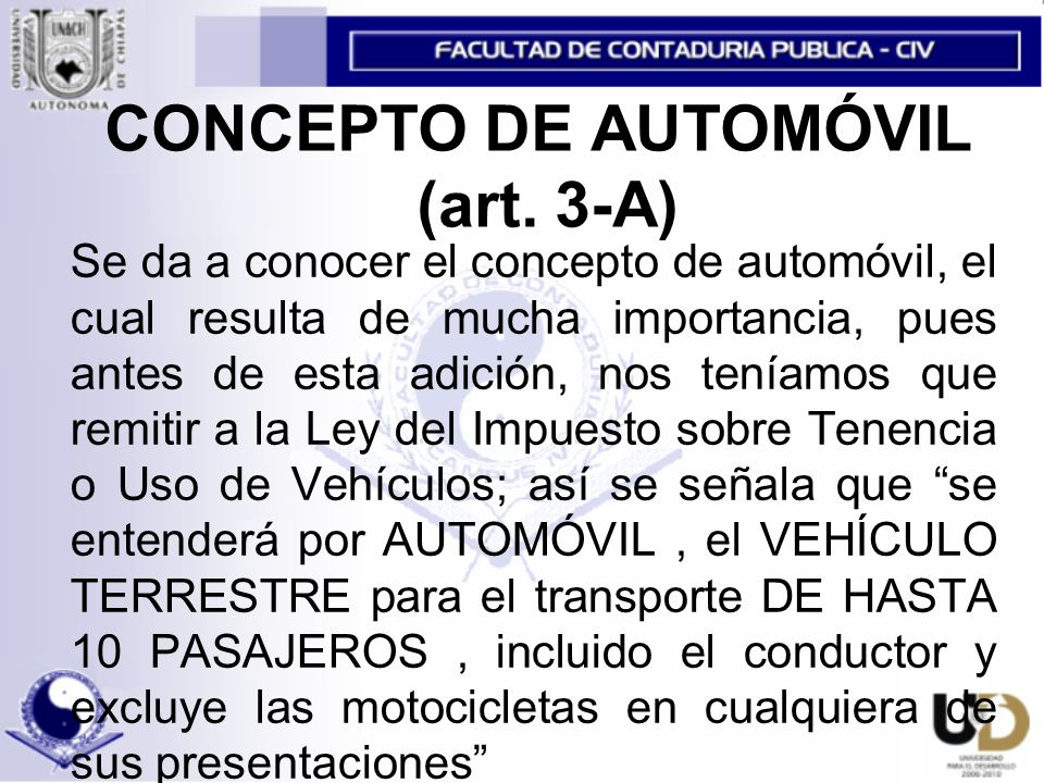 CONCEPTO DE AUTOMÓVIL (art.