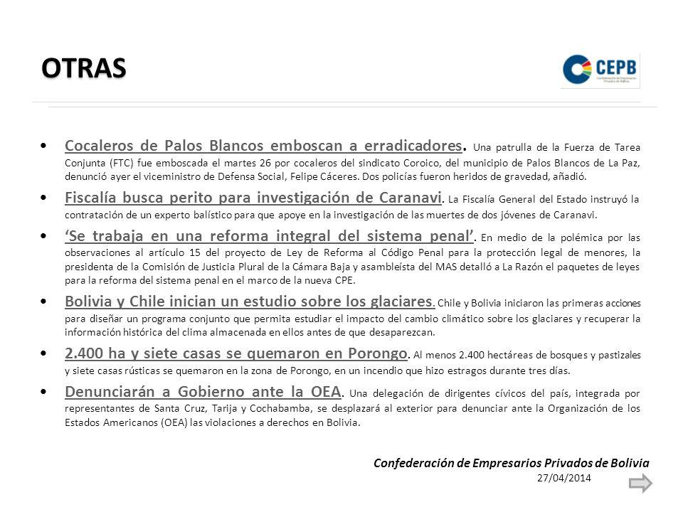 OTRAS Cocaleros de Palos Blancos emboscan a erradicadores.