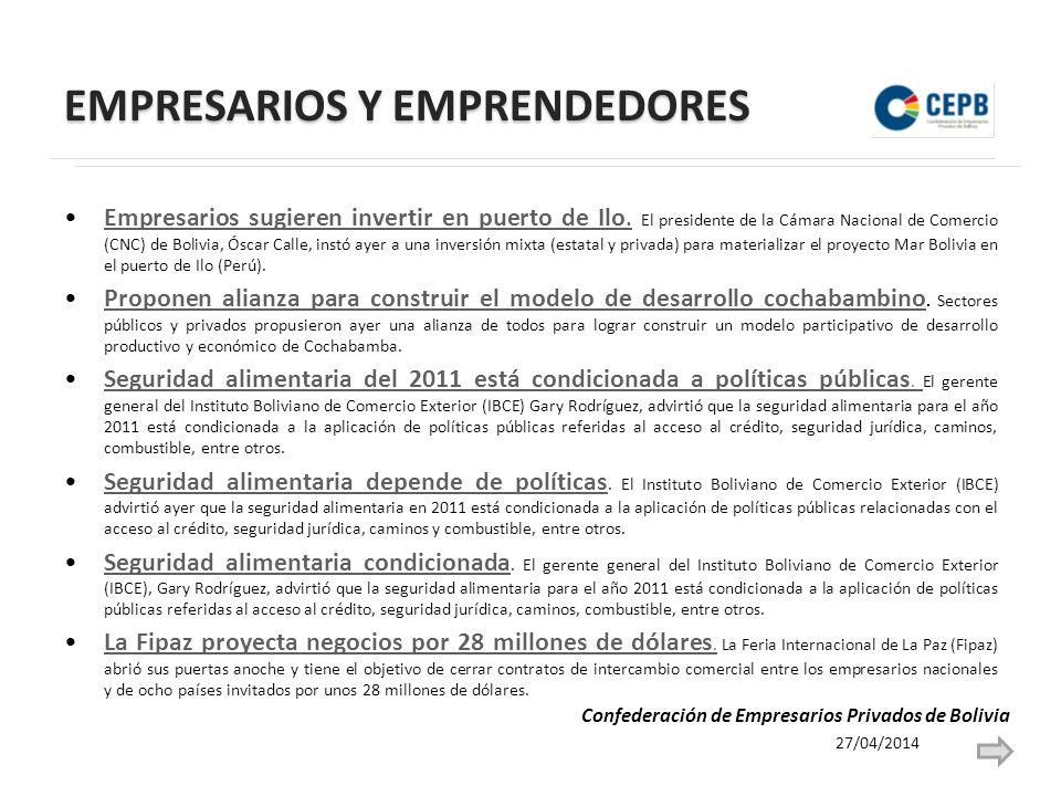 EMPRESARIOS Y EMPRENDEDORES Empresarios sugieren invertir en puerto de Ilo.