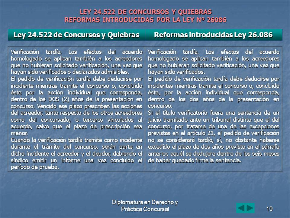 Diplomatura en Derecho y Práctica Concursal10 LEY 24.522 DE CONCURSOS Y QUIEBRAS REFORMAS INTRODUCIDAS POR LA LEY Nº 26086 Verificación tardía. Los ef